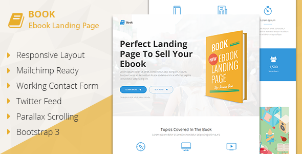 Book - Responsive Ebook Landing Page
