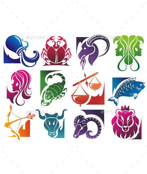 Set of Zodiac Symbols - Decorative Symbols Decorative