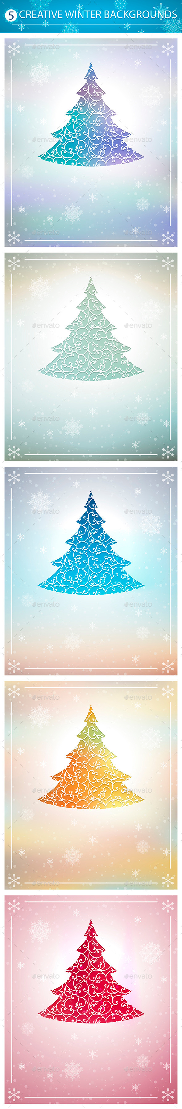 Winter Backgrounds Set - New Year Seasons/Holidays