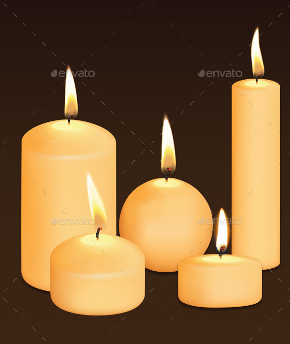 Set of Candles at Dark - Man-made Objects Objects