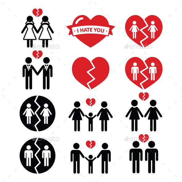Gay Or Lesbian Couple Breakup Divorce Symbols By Redkoala