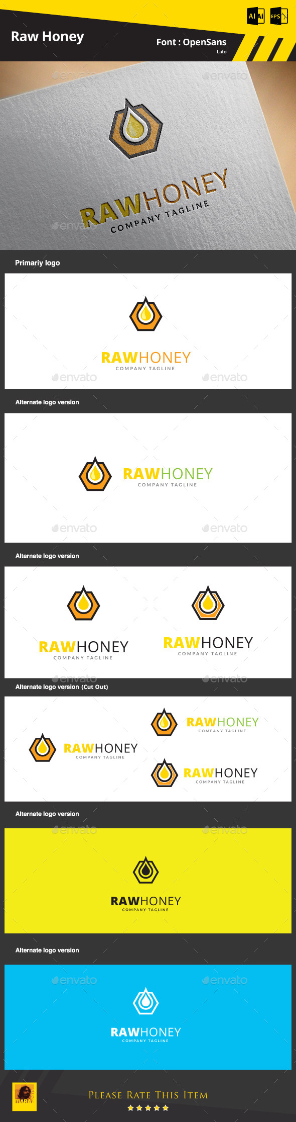 Raw Honey Logo Template - Objects Logo Templates
