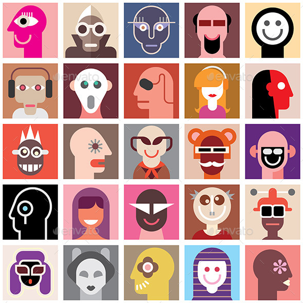 People Faces Collage - People Characters