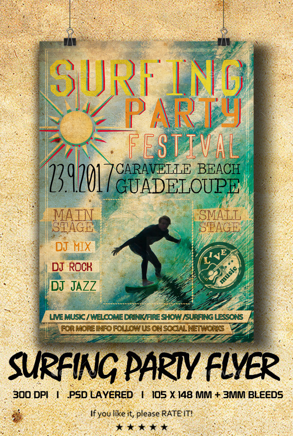 Surfing Party Flyer - Events Flyers
