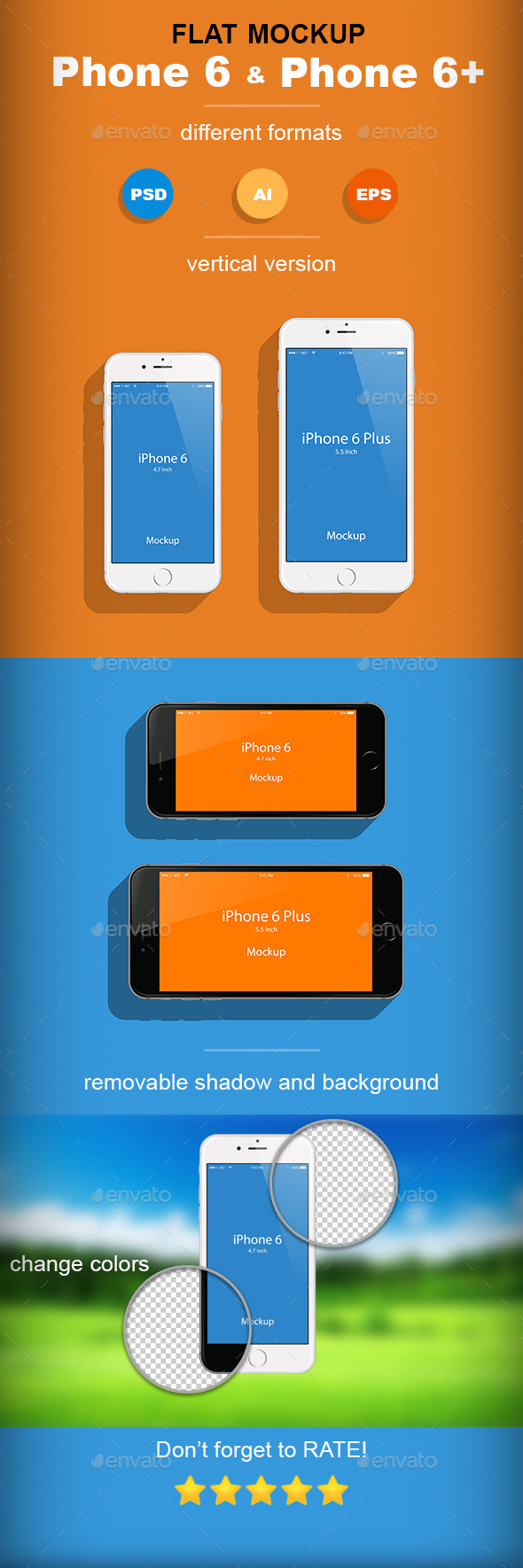 Flat Phone 6 & Phone 6+ Mockup - Product Mock-Ups Graphics