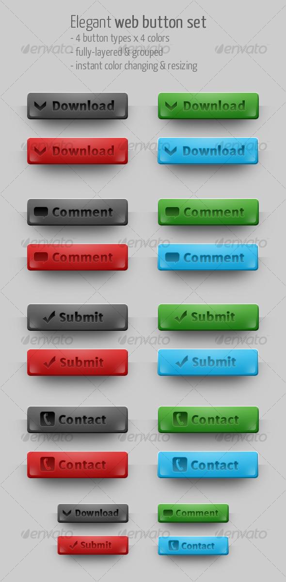 Elegant Web Button Set, 4 colors & 4 types! - Buttons Web Elements