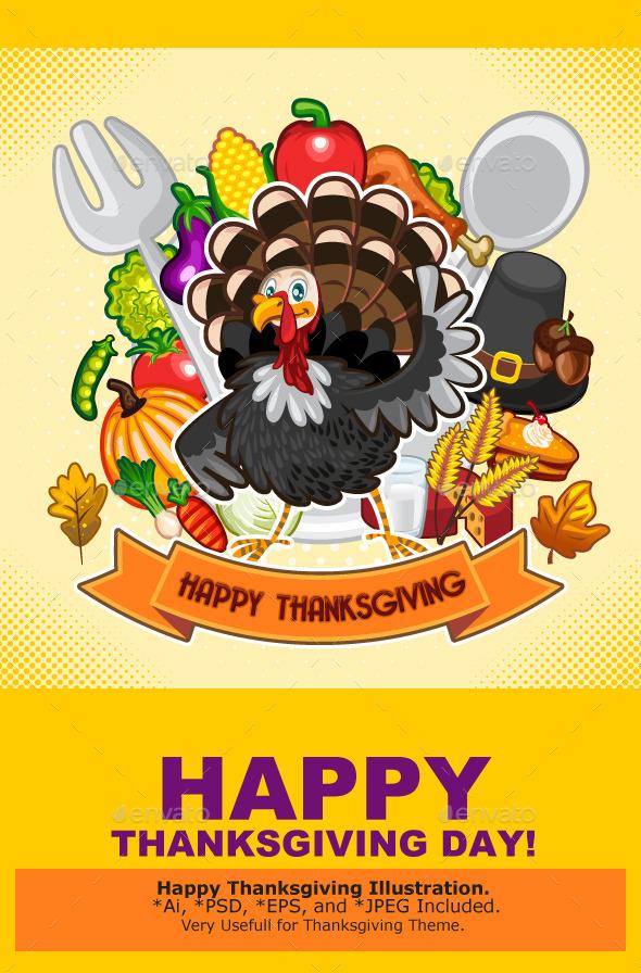 Happy Thanksgiving Turkey - Miscellaneous Seasons/Holidays