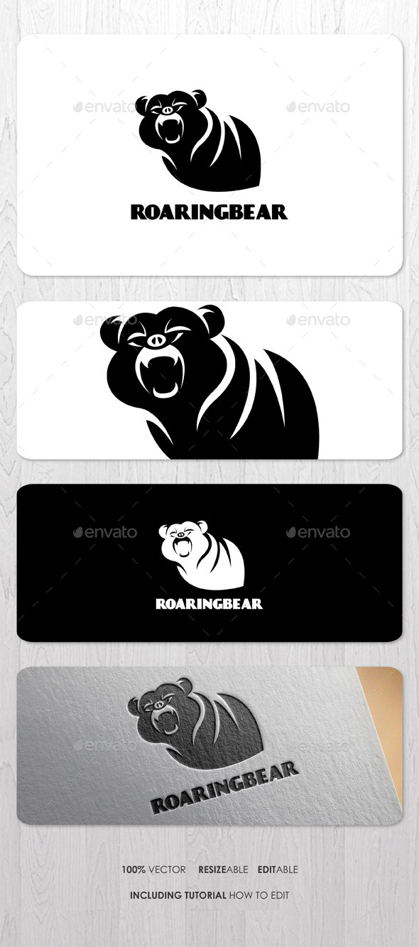 Roaring Bear Logo - Animals Logo Templates