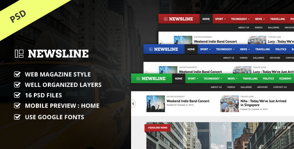 Newsline – Magazine PSD Template