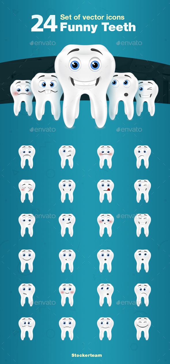 24 Teeth Icons - Characters Vectors