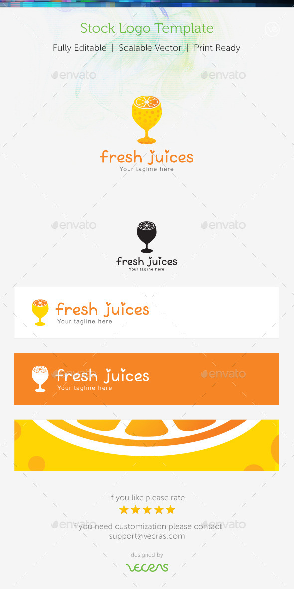 Fresh Juices Stock Logo Template  - Food Logo Templates