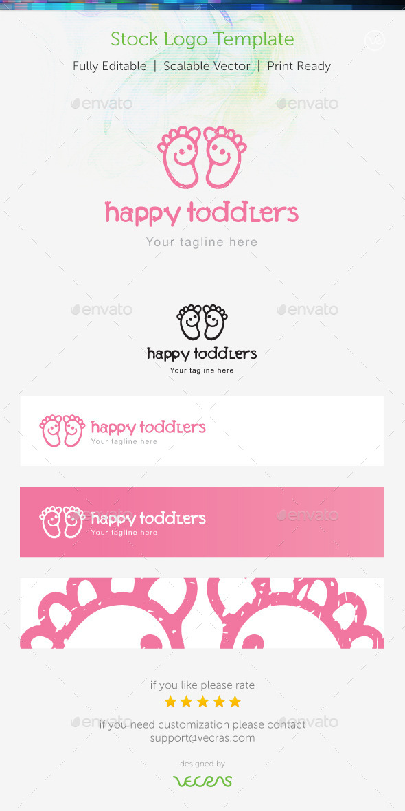 Happy Toddlers Stock Logo Template  - Humans Logo Templates