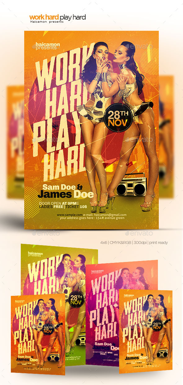 Work Hard Play Hard Flyer - Flyers Print Templates