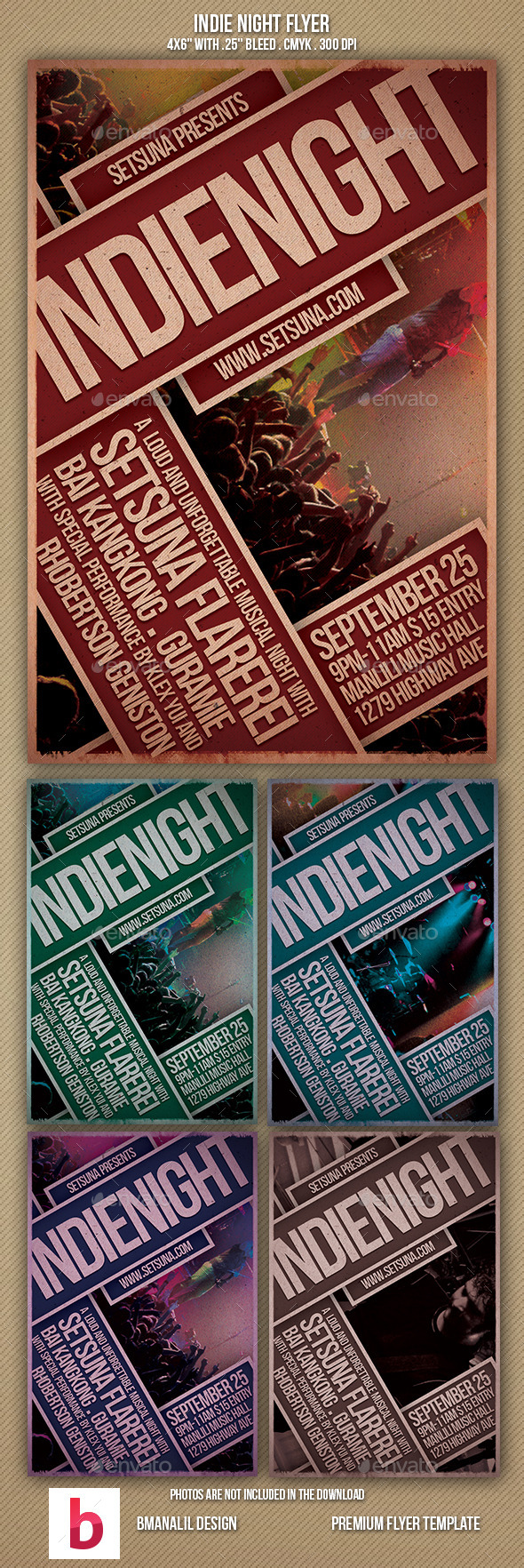 Indie Night Flyer - Concerts Events