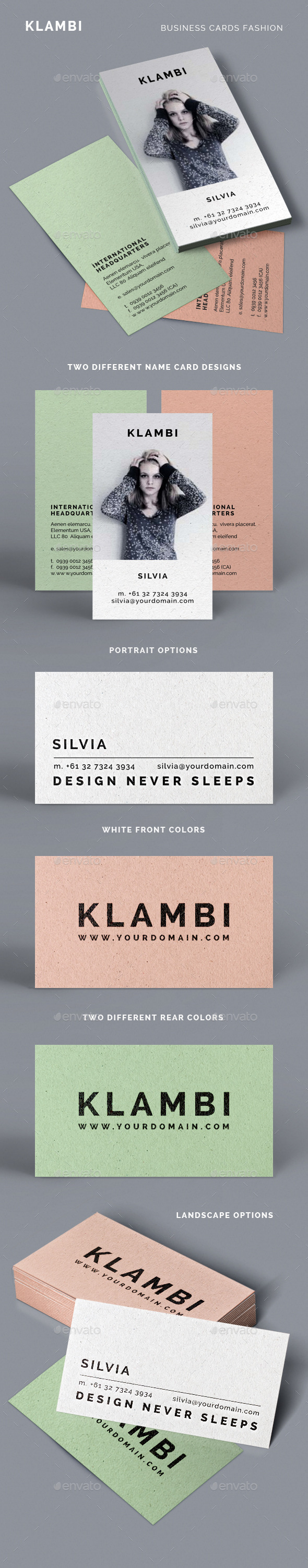 Fashion Business Cards Klambi - Industry Specific Business Cards