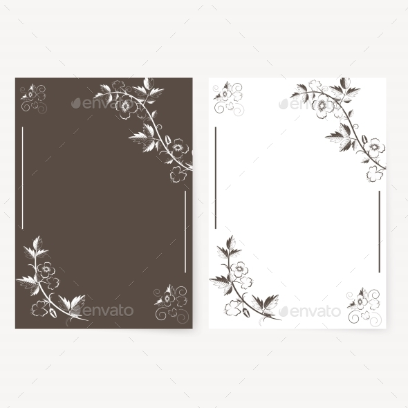 Vector Template for Folder, Business Card - Flourishes / Swirls Decorative