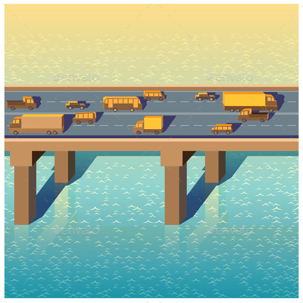 Bridge with Cars - Buildings Objects