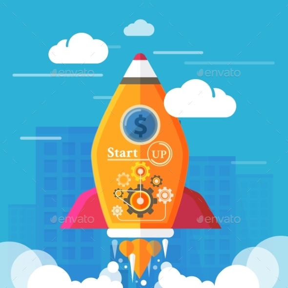 Business Start Up Rocket - Concepts Business
