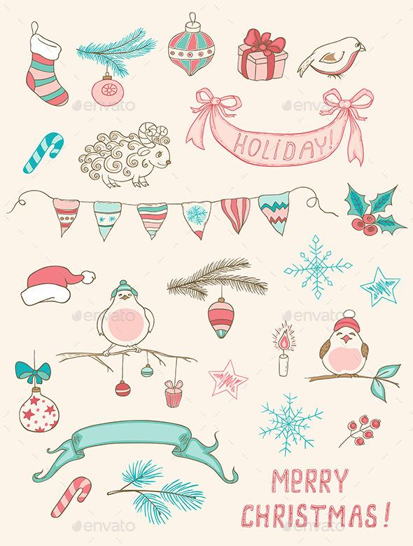 Christmas Doodle Design Elements - Christmas Seasons/Holidays