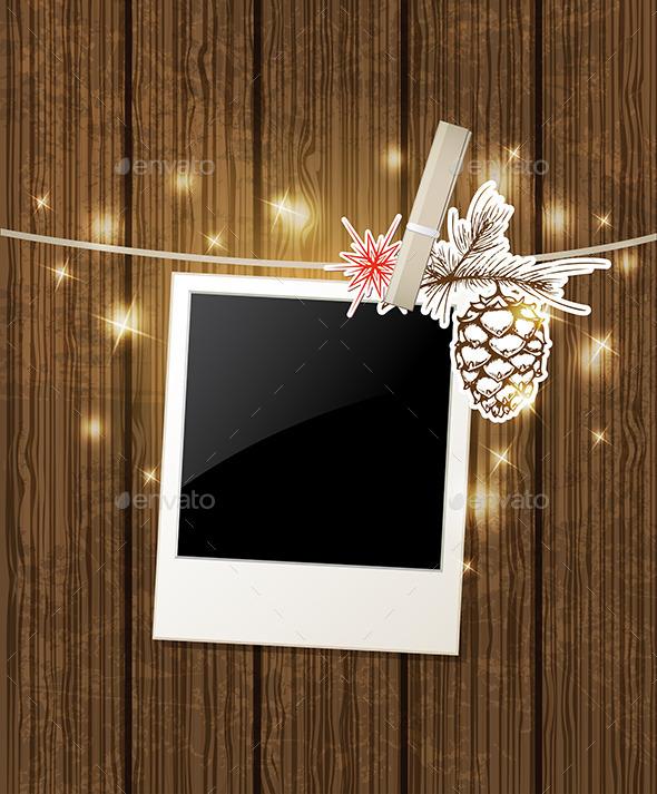 Christmas  Background with Photo and Pine - Christmas Seasons/Holidays