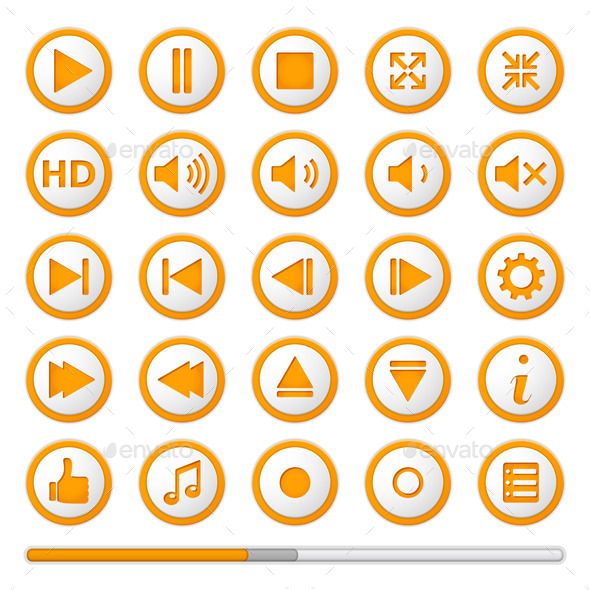 Orange Media Player Buttons - Web Elements Vectors