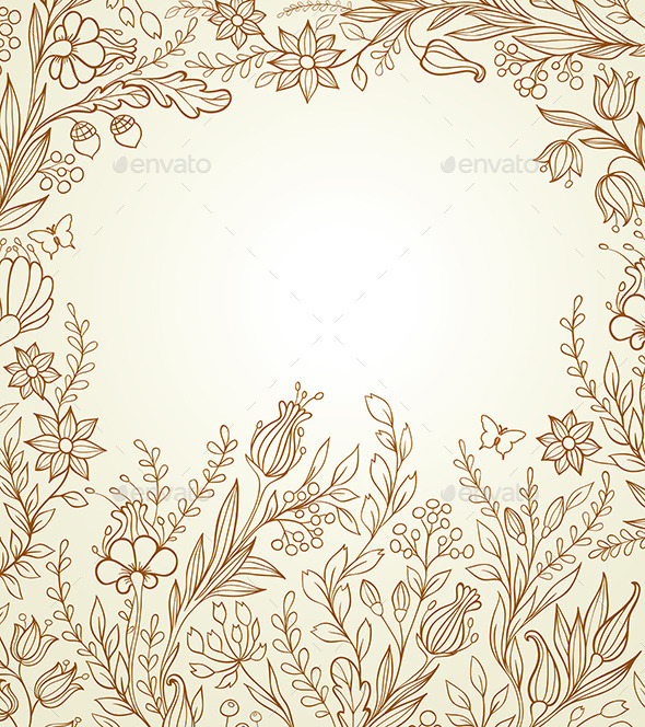 Hand Drawn Background with Flowers - Flowers & Plants Nature