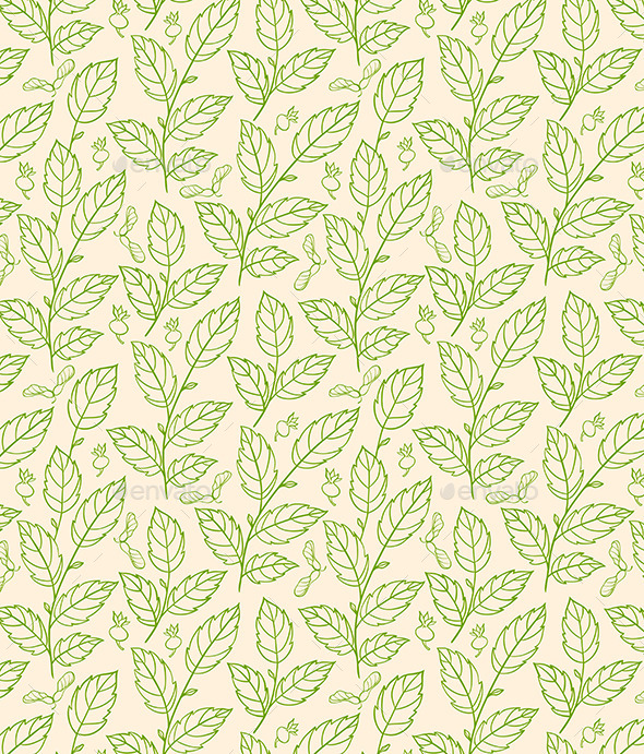 Seamless Pattern with Green Branches - Patterns Decorative