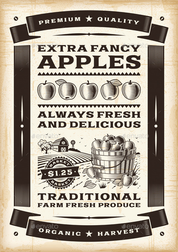 Vintage Apple Harvest Poster - Food Objects