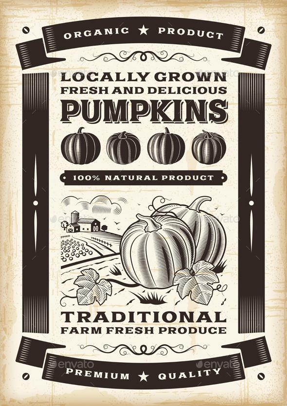 Vintage pumpkin harvest poster - Food Objects