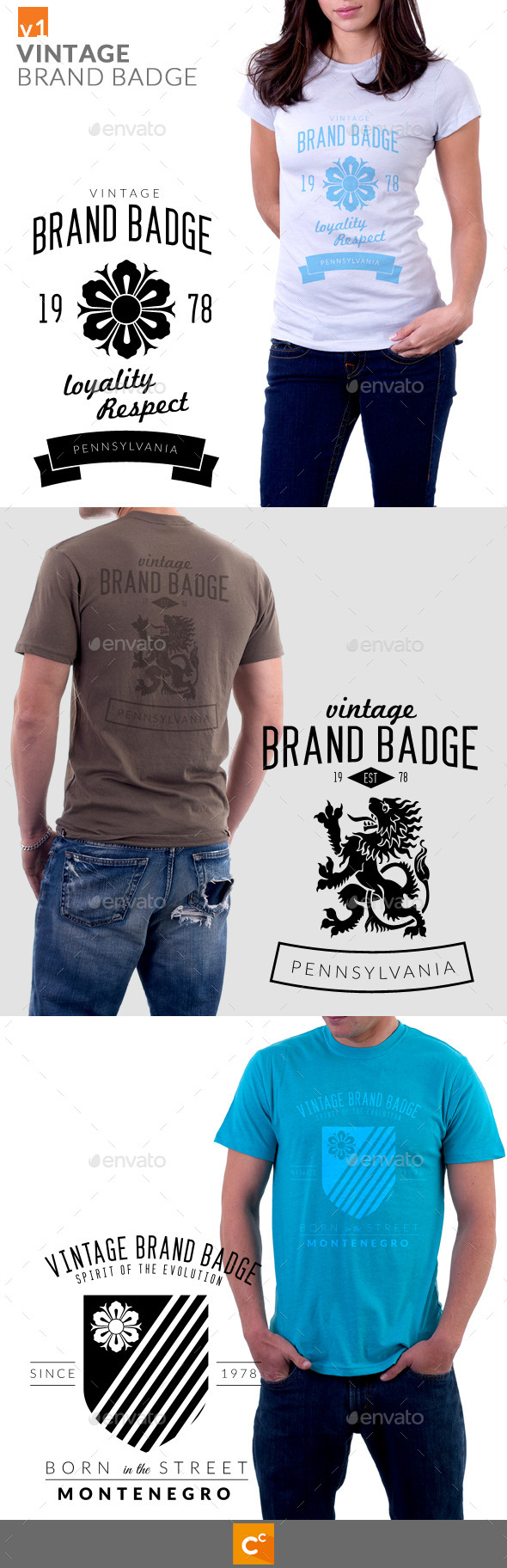 Vintage Brand Badge T-Shirt - T-Shirts