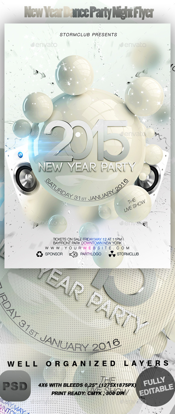 New Year Dance Party Night Flyer - Events Flyers
