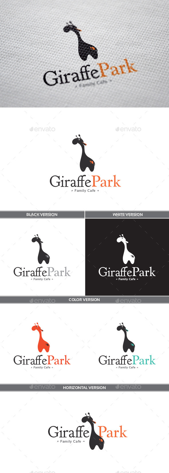 GiraffePark Logo - Animals Logo Templates