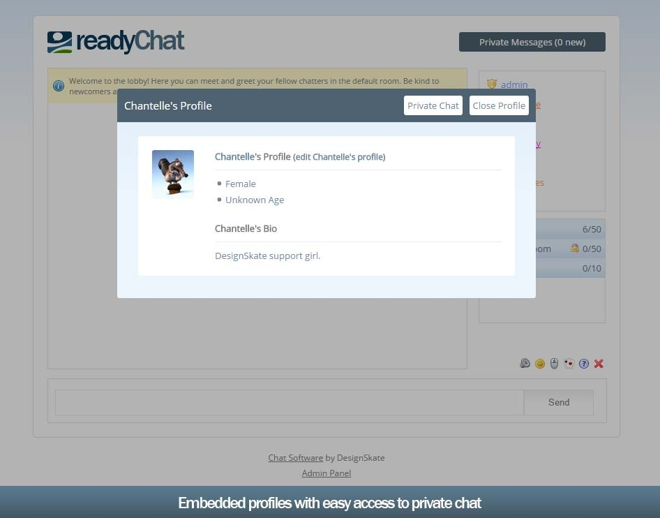 Easy to use chat rooms