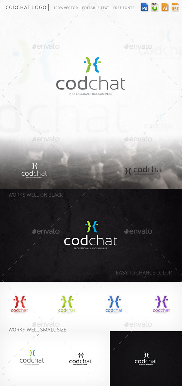 Codchat Curly Braces Faces Logo Template - Humans Logo Templates