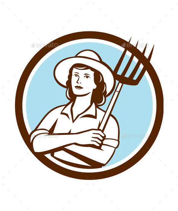 Female Organic Retro Farmer  - People Characters