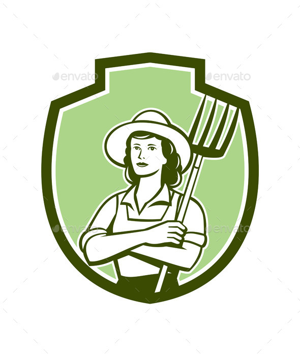 Female Organic Retro Farmer Shield  - People Characters