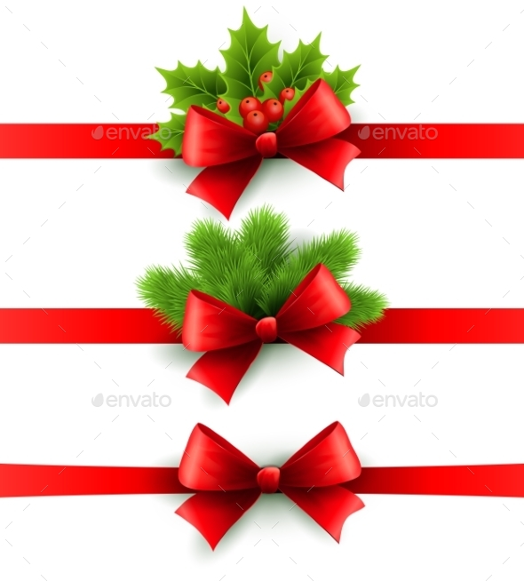 Red Holiday Ribbon with Bow, Holly and Pine  - Christmas Seasons/Holidays