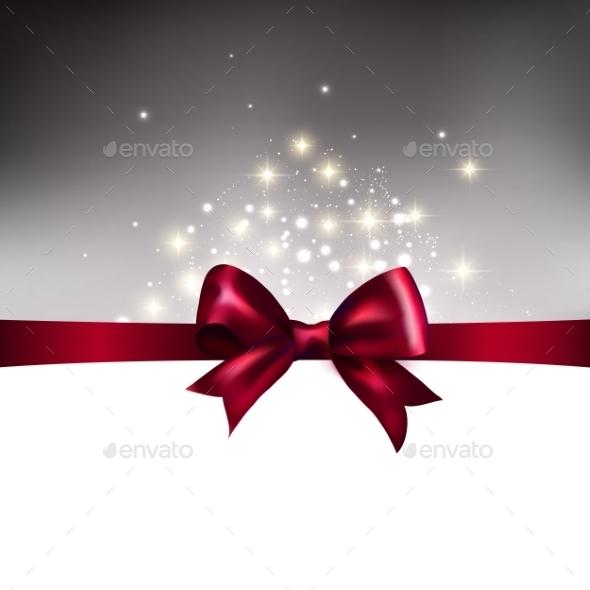 Abstract Christmas Llight Background with Ribbon - Christmas Seasons/Holidays