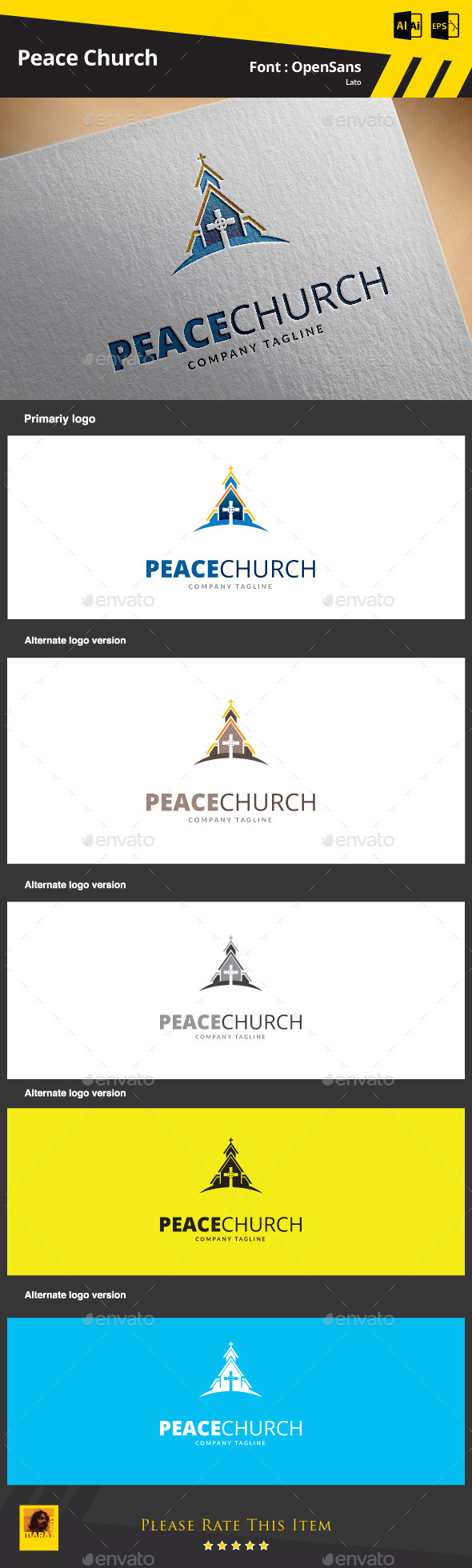 Peace Church  Logo Template - Buildings Logo Templates