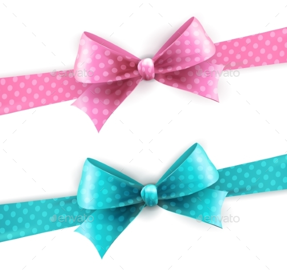 Blue and Pink Polka Dot Bow - Christmas Seasons/Holidays