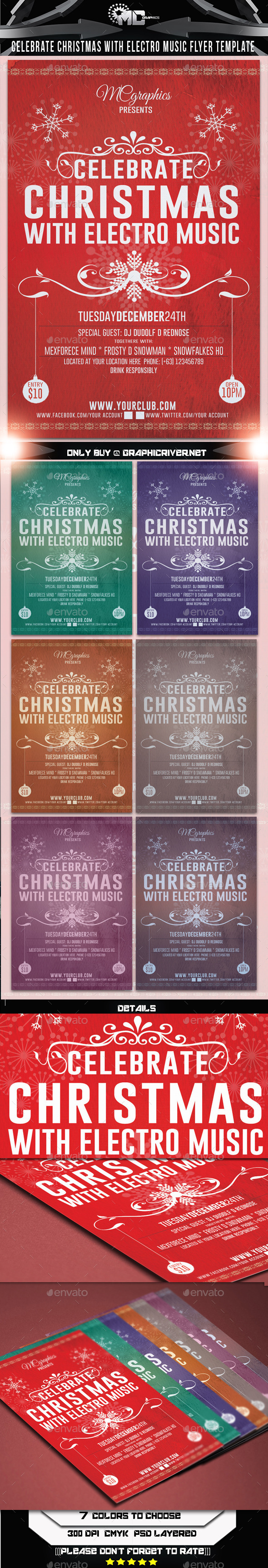Celebrate Christmas Electro Music Flyer - Events Flyers