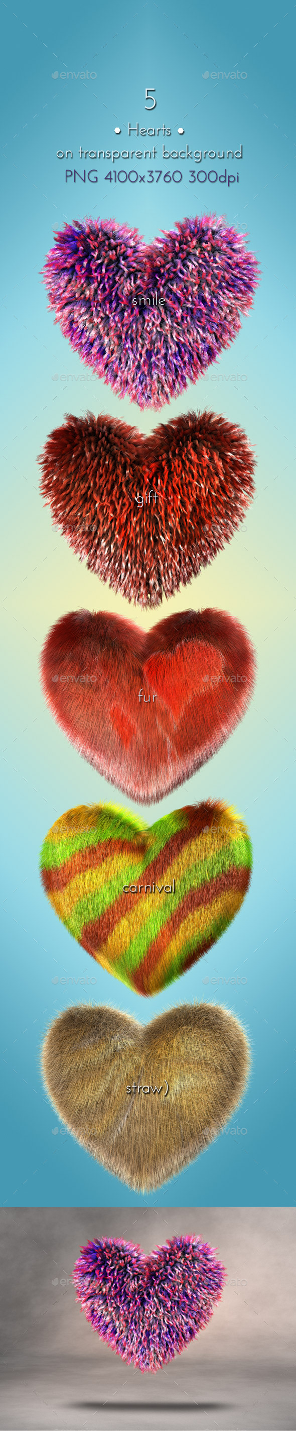 Gift Hearts 3D - Objects 3D Renders