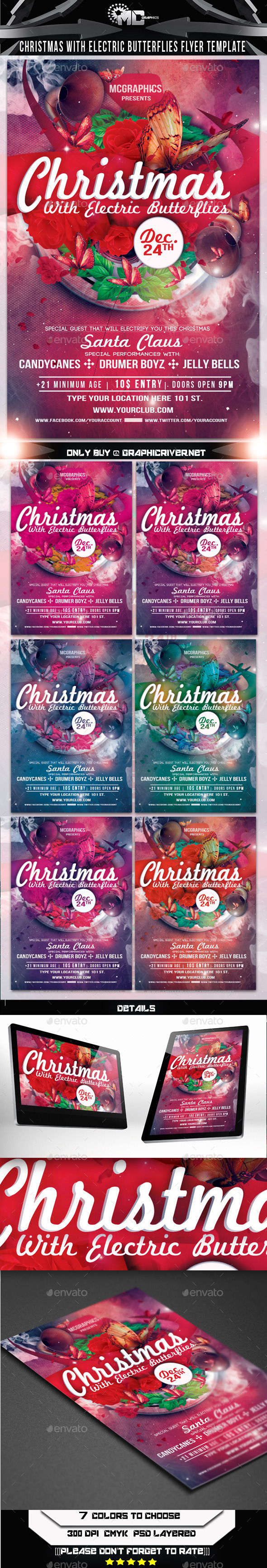 Christmas With Electric Butterflies Flyer Template - Clubs & Parties Events