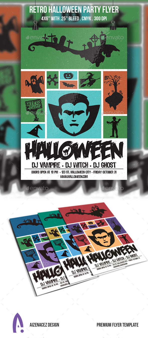 Retro Halloween Party Flyer - Holidays Events