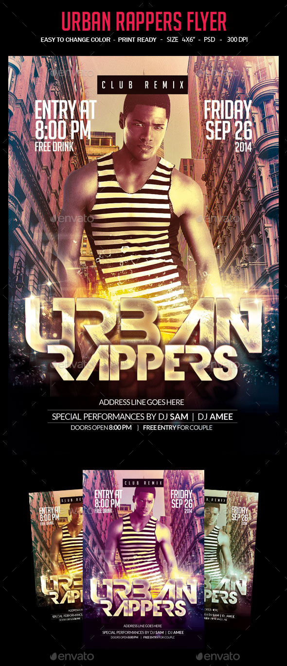 Urban Rappers Flyer - Clubs & Parties Events