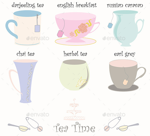 Tea Cup Collection Vector - Food Objects