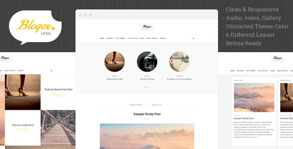Blogex - Minimal HTML Responsive Blog Theme - Personal Site Templates