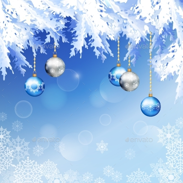 Christmas Fir Tree Branches Vector Background - Christmas Seasons/Holidays