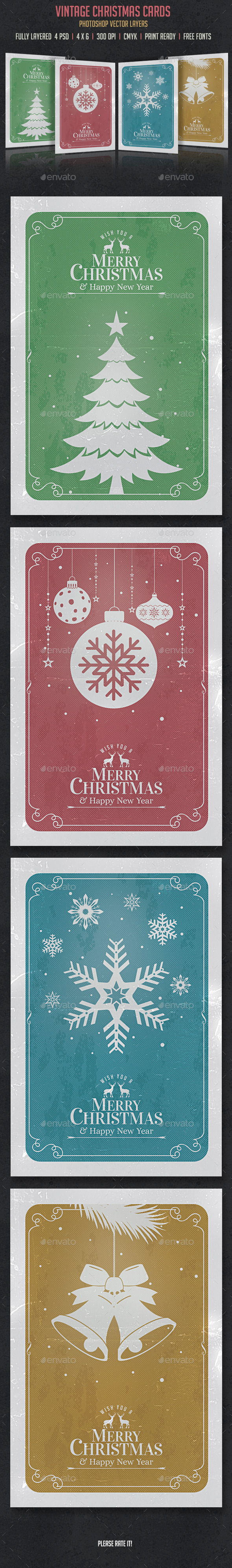 Vintage Christmas Cards/Invitation - Cards & Invites Print Templates