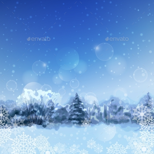 Vector Watercolor Snowy Forest - Seasons Nature